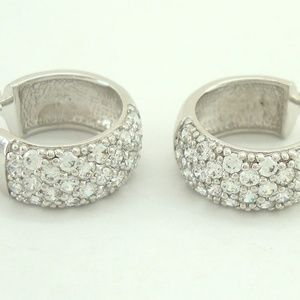 Epiphany DQ CZ Sterling Silver Pave Hoop Earrings